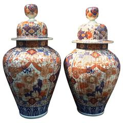 Pair of Blue and Orange Painted Ceramic Japanese Vases from the 19th Century