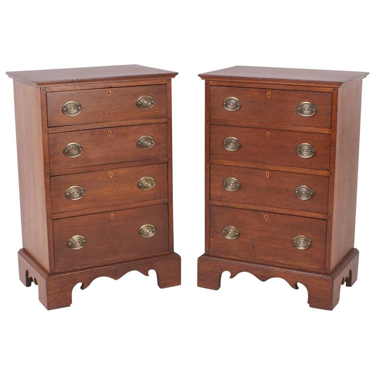 Pair of Antique Chippendale Style Mahogany Nightstands or Chests