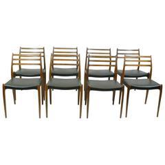 Set of Eight Rosewood MöLler Mod. 78 Dining Chairs