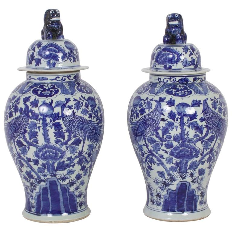 Pair of Chinese Export Style Blue and White Porcelain Lidded Jars