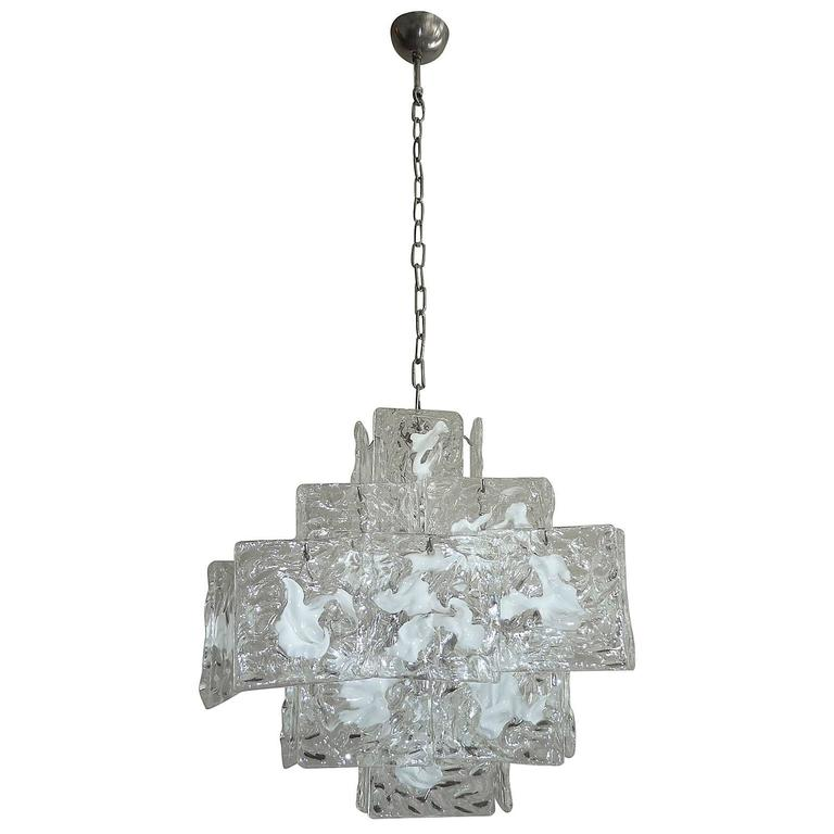 Clear and White Square Glass Chandelier from Murano, Italy For Sale