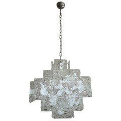 Clear and White Square Glass Chandelier from Murano, Italy