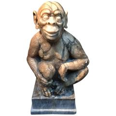 Alabaster Monkey Statue from Mid-19th Century