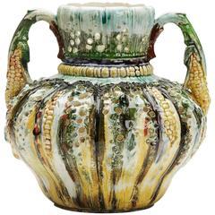 Antique Majolica Glazed Corn Design Vase 19th Century