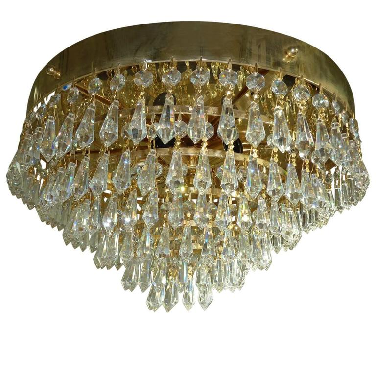 Hollywood Regency Style, Flush Mount Chandelier, Dolzauer Austria
