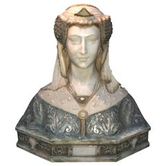 Polychromed White Marble Woman Bust, Dossena Attributed, 19th Century