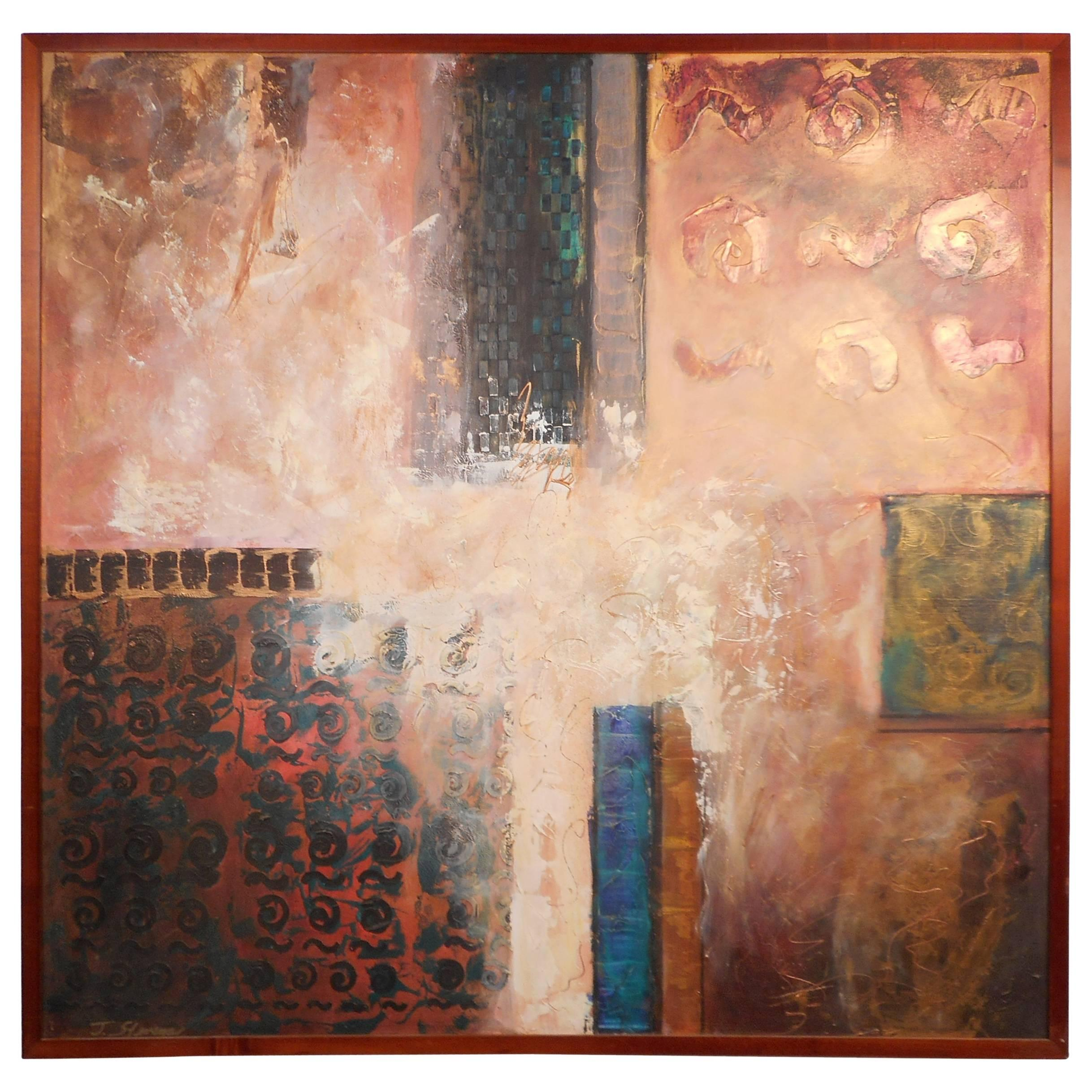 Mid-Century Modern Contemporary Abstract Painting Signed by J. Stevens