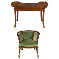 """French Art Nouveau """"Aux Nenuphars"""" Desk and Armchair"""