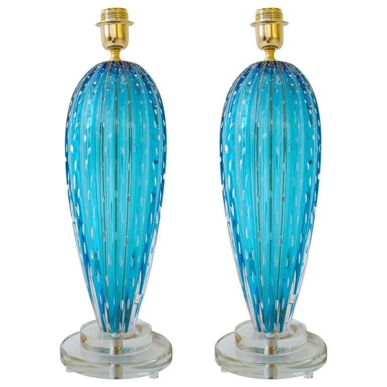 "Pair of Italian Aquamarine Blue ""Pulegoso"" Murano Glass Lamps, Signed For Sale"