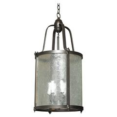 Mid-20th Century Oil-Rubbed Bronze and Glass Chandelier