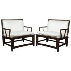 Pair of Mid-Century Ebonized Armchairs, 'Widdicomb'