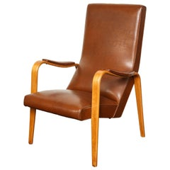 Mid-20th Century Walnut and Leather Open Armchair