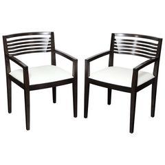 Pair of 20th Century Ebonized Oak Open Armchairs, 'Riccio' for Knoll