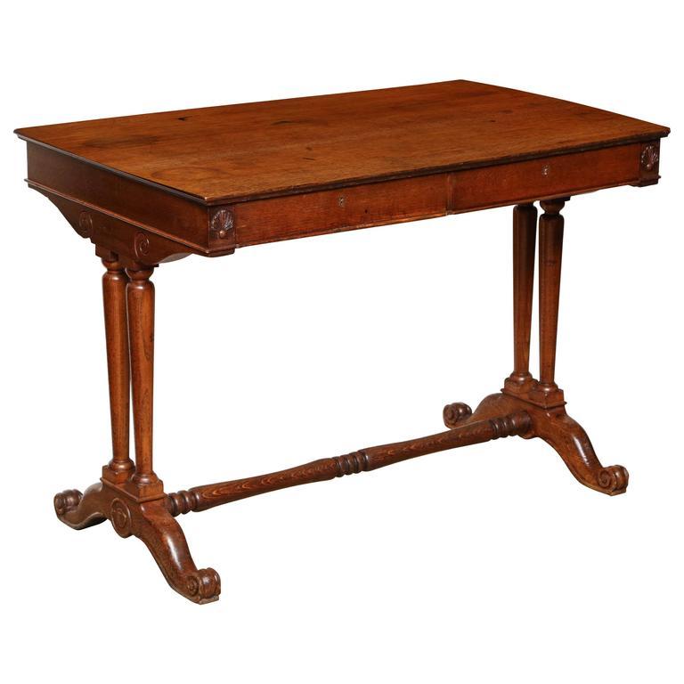 19th Century English Neoclassical Two-Drawer Oak Desk
