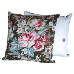 Pair of Antique French Floral Cotton and Linen Pillows