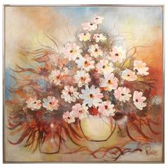 Mid-Century Modern Floral Abstract Painting Signed