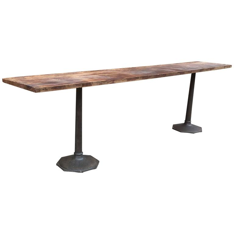 Industrial Reclaimed Walnut and Cast Iron Console Table