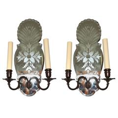 Wonderful Pair Etched Floral Mirror Back Two-Light Bronze Caldwell Sconces