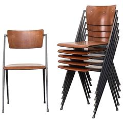 Rare Set of Six Rietveld ''Pyramid'' Chairs for Ahrend the Cirkel, Netherlands