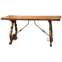 19th Century Spanish Carved Chestnut Table with Wrought Iron Stretcher