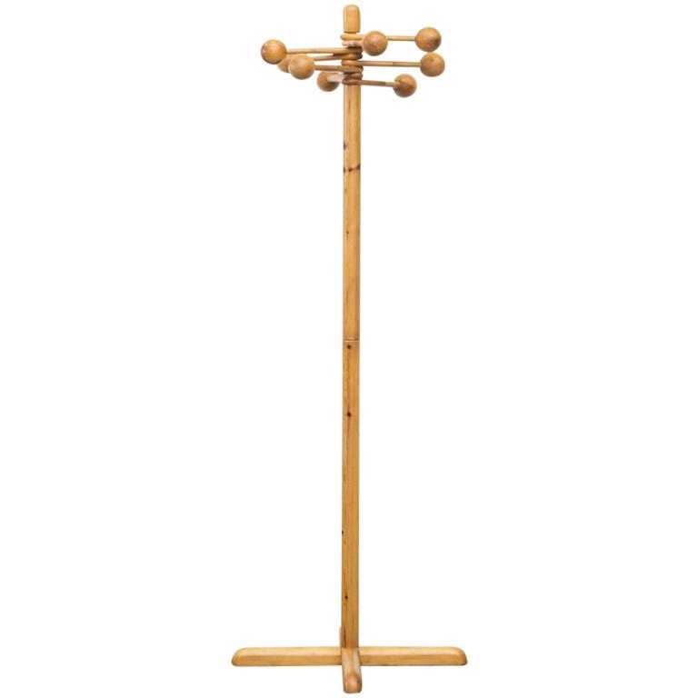 Borsani Style Pine Standing Coat Rack