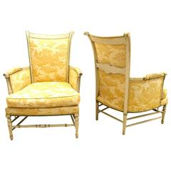 Pair of French Provincial Directoire Style Bergere