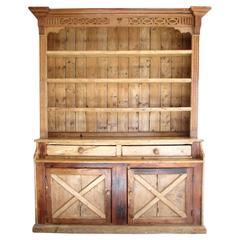 English Pine Step Back Cupboard