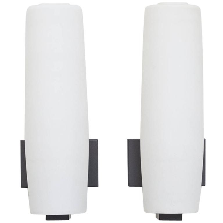 Pair of Philips Wall Mount Milk Glass Sconces at 1stdibs