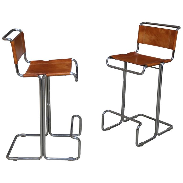 Pair of Leather and Chrome Barstools by Stendig