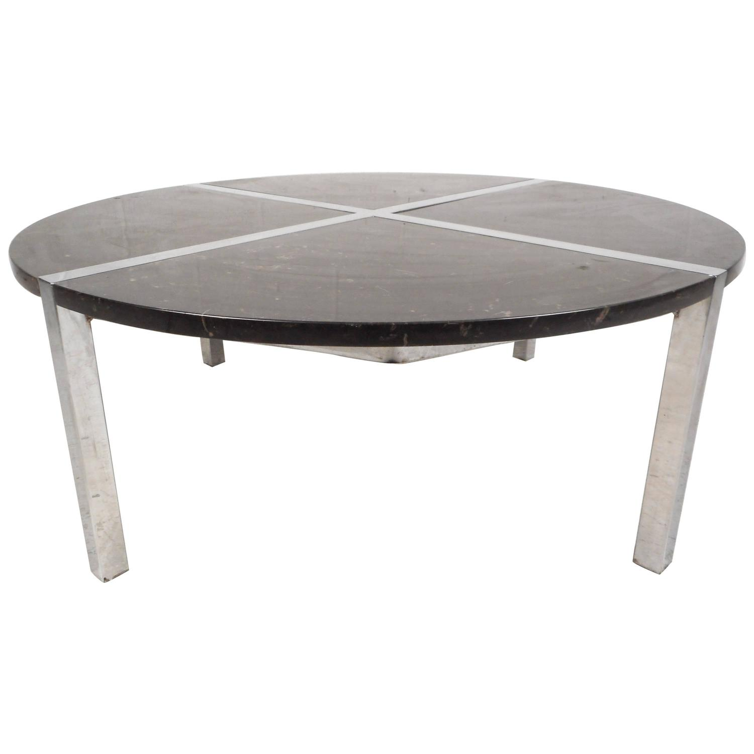 Mid Century Modern Marble Table: Mid-Century Modern Chrome And Marble Top Coffee Table For