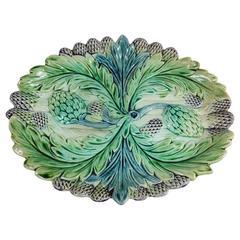 19th Majolica Asparagus & Artichoke Platter Fives Lille