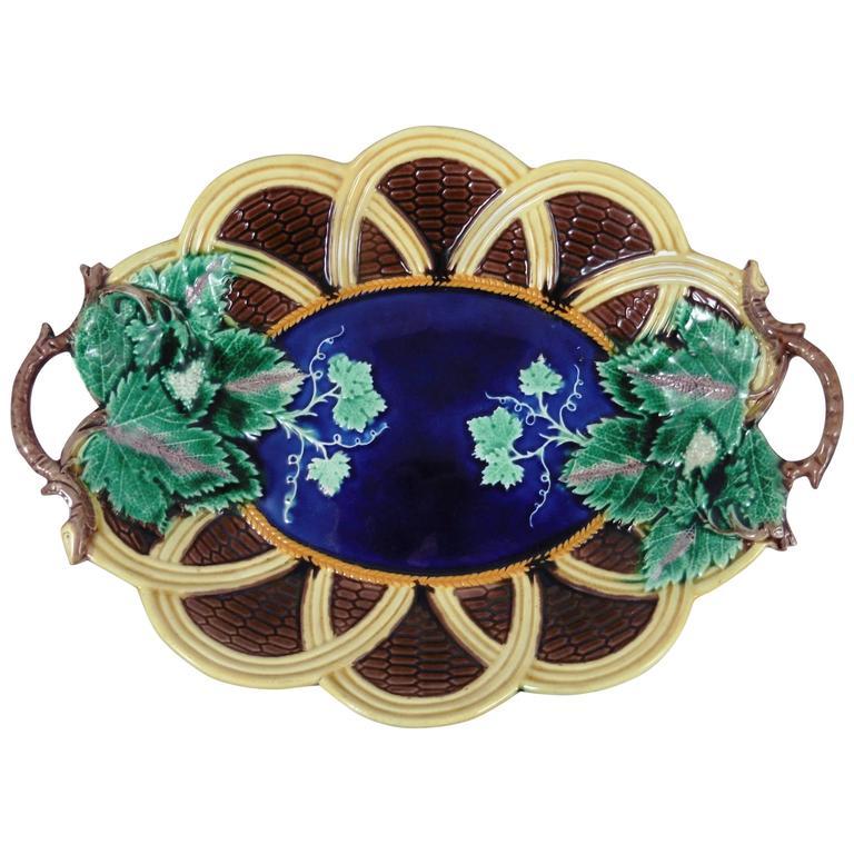 19th Majolica Wedgwood Handled Basket Platter