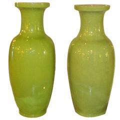 Large Pair of Mint Green Celedon Vases