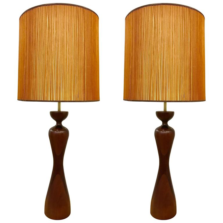 Pair of Phillip Lloyd Powell Walnut Lamps