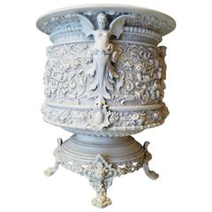 Italian Terracotta Planter with Angels and Fawn, Cherubs and Swags
