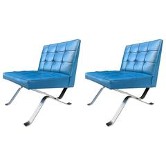 Pair of Milo Baughman Chrome Flat Bar Lounge Chairs
