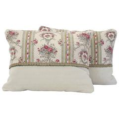 Pair of 19th Century Antique French Block Printed Textile Pillows