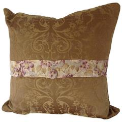 19th Century Vintage French Damask Accent Pillow