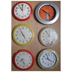 """Time Stands Still"" Cuban Clocks Assemblage on Panel by Kalev Jaason"