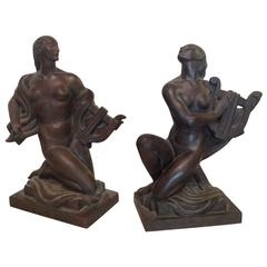 """""""Lady with a Lyre"""", Pair of Sculptures by Wheeler Williams"""