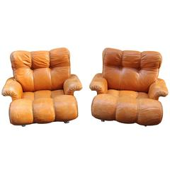 Brazilian Pair of Leather Lounge Chairs