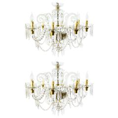 Superb Pair of Vintage Venetian Eight-Light Crystal Chandeliers