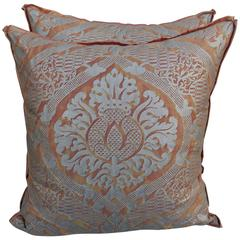 Burnt Orange and Silver Fortuny Pillows, Pair