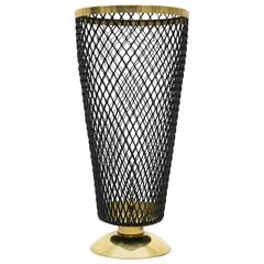 French Modern Brass and Perforated Metal Umbrella Stand, 1950s