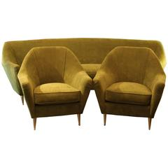 I.S.A, Living Room with Sofa and Pair of Armchairs, Gifted Brass Feet, 1960