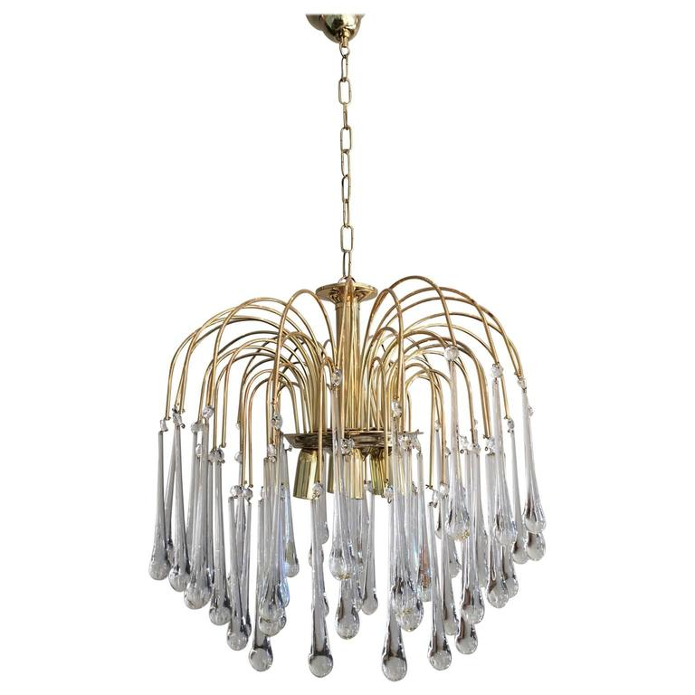 Vintage Mid-Century Chandelier Murano Teardrop Crystals For Sale ...