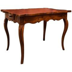 French Louis XV Period Chesnut Game Table with Leather Top, circa 1750