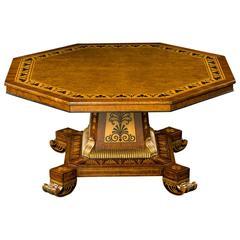 Superb Regency Burr Elm and Rosewood Crossbanded Octagonal Center Table