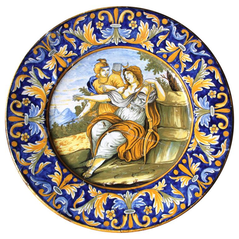 Beautiful Rivet Repaired Italian Majolica Plate, circa 1870