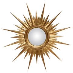 Mid-20th Century French Giltwood Sunburst Mirror with Convex Glass
